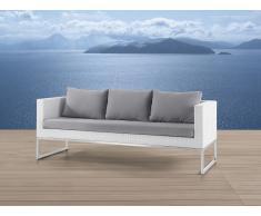Sofá de jardín - 3 plazas - Ratán y acero - Color blanco - CREMA