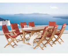 Conjunto de jardín de madera – Mesa - 8 sillas con apoyabrazos - cojines en color terracota – JAVA