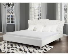 Cama de matrimonio de piel blanca - Somier incluido - 180x200cm - METZ