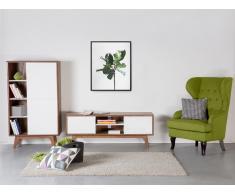 Cómoda - Mueble TV - Mueble de salón en MDF - nogal y blanco - ROCHESTER