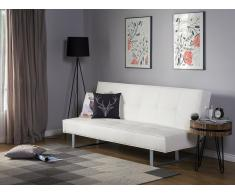 Sofá cama de piel sintética blanco 189 cm DERBY