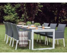 Conjunto de jardín en aluminio gris - Mesa y 6 sillas - BACOLI