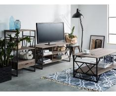 Mueble TV 4 estantes en madera de roble sonoma, CARLISLE
