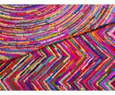 Alfombra de Algodón - multicolor - Pelo largo- 80x150 cm - KARASU