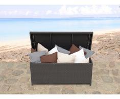 Caja para jardín o patio marrón - baúl para los cojines - ratán 130 cm - MODENA