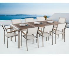 Conjunto de jardín -Tablero de madera acacia - Mesa 220 cm con 8 sillas blancas - GROSSETO