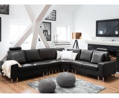 Sofá esquinero en piel negro STOCKHOLM