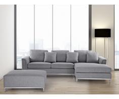 Sofá esquinero tapizado en gris claro con reposapiés izquierdo OSLO