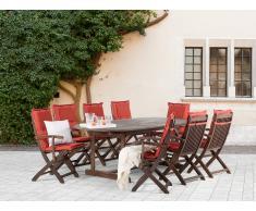 Conjunto de jardín de madera – Mesa – 8 sillas con apoyabrazos – Cojines en color terracota - MAUI
