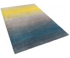 Alfombra gris-azul-amarilla - 160x230 cm - Shaggy - DINAR