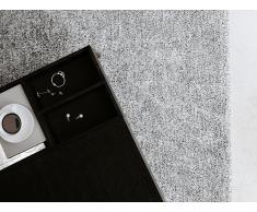 Alfombra shaggy en color blanco y negro 80x150 cm DEMRE