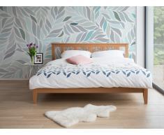 Cama de madera - Tamaño extra grande - Marrón claro - 160 x 200 cm - CALAIS