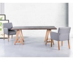 Mesa de comedor - Madera de roble - 200x100 cm - Gris - MOORE