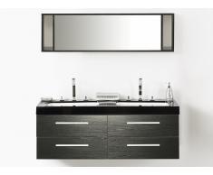 Muebles de baño - Armario de lavabo - 2 lavabos - 1 espejo - color negro - MALAGA