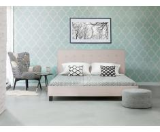 Cama tapizada con somier color beige 160x200 cm LA ROCHELLE