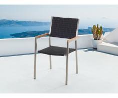 Silla de jardín - Silla de acero inoxidable con asiento en ratán - GROSSETO