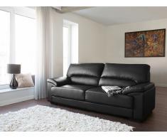 Sofá negro - Canapé de piel - 3 plazas - VOGAR