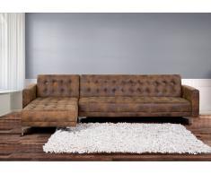 Sofá cama esquinero en poliéster marrón ABERDEEN