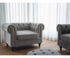 Butaca gris claro - Sillón tapizado - CHESTERFIELD