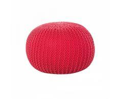 Puf redondo - Reposapiés en algodón - Rojo - 50x35 cm - CONRAD