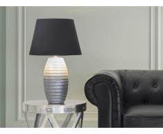 Lámpara de mesa - Pie de cerámica - Color plateado - EBRO