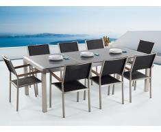 Conjunto de jardín mesa con tablero de piedra natural gris 220 cm, 8 sillas de tela negras GROSSETO