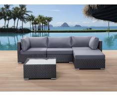 Sofá de ratán negro - conjunto de jardín - mesa de café - SANO
