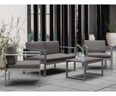 Sofá de jardín 2 plazas en aluminio gris oscuro SALERNO