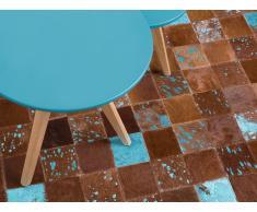 Alfombra - Cuero - Patchwork - 80x150 cm - Marrón y azul - ALIAGA