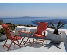 Conjunto de jardín de madera -Mesa - 2 sillas - Cojines en color terracota - TOSCANA