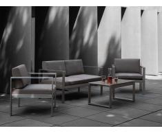 Conjunto de jardín en aluminio - Sofá, Mesa y 2 Sillas - Gris oscuro - SALERNO