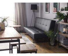 Sofá cama de piel sintética negro 189 cm DERBY