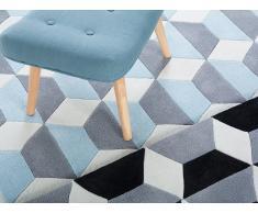 Alfombra de poliéster - 160x230 cm - Color azul-gris-blanco - ANTALYA