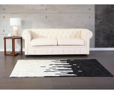 Alfombra - Negra - Crema - Piel - 80 x 150 cm - BOLU