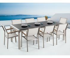 Conjunto de jardín mesa con tablero de piedra natural negro pulido 220 cm, 8 sillas blancas GROSSETO