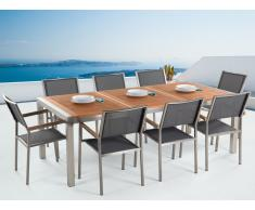 Conjunto de jardín mesa en madera 220 cm, 8 sillas grises GROSSETO