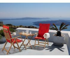 Conjunto de jardín de madera –Mesa – 2 sillas – Cojines en color terracota claro – RIVIERA