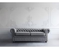 Sofá 2 plazas en piel color gris oscuro CHESTER