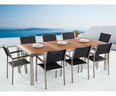 Conjunto de jardín mesa en madera 220 cm, 8 sillas negras GROSSETO