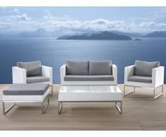 Conjunto de jardín en ratán blanco - Acero inoxidable - Mesa - Sofá - 2 Sillones - Otomana - CREMA blanco
