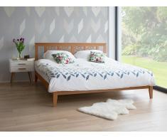Cama de madera beige con somier 160x200 cm CAEN