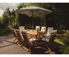 Conjunto de jardín en madera de acacia Mesa + 8 sillas cojines color beige con sombrilla MAUI