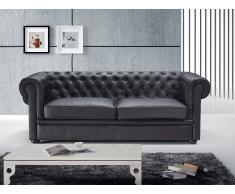Sofá en piel color negro CHESTER