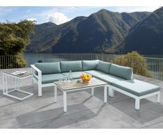 Conjunto de jardín en aluminio - Sofá seccional - Mesa - Taburete - MESSINA