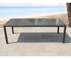 Mesa de ratán con tablero de vidrio - Mesa de jardín 220 cm - ITALY