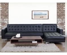 Sofá cama esquinero en piel sintética negro, versión izquierda ABERDEEN