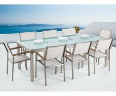 Conjunto de jardín mesa en vidrio 220 cm, 8 sillas blancas GROSSETO