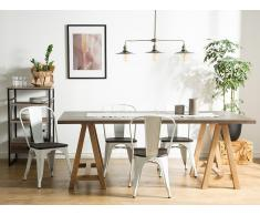 Conjunto de 2 sillas en metal y madera, blanco, APOLLO