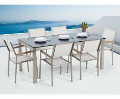 Conjunto de jardín - Vidrio templado negro - Mesa 180 cm con 6 sillas blancas - GROSSETO