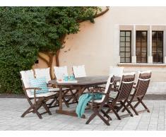 Conjunto de jardín de madera – Mesa – 8 sillas con apoyabrazos– Cojines en color beige - MAUI